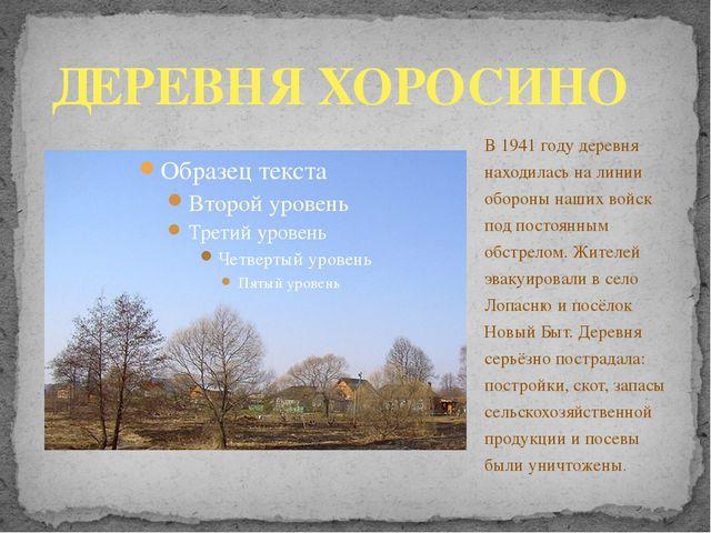 В 1941 году деревня находилась на линии обороны наших войск под постоянным об...