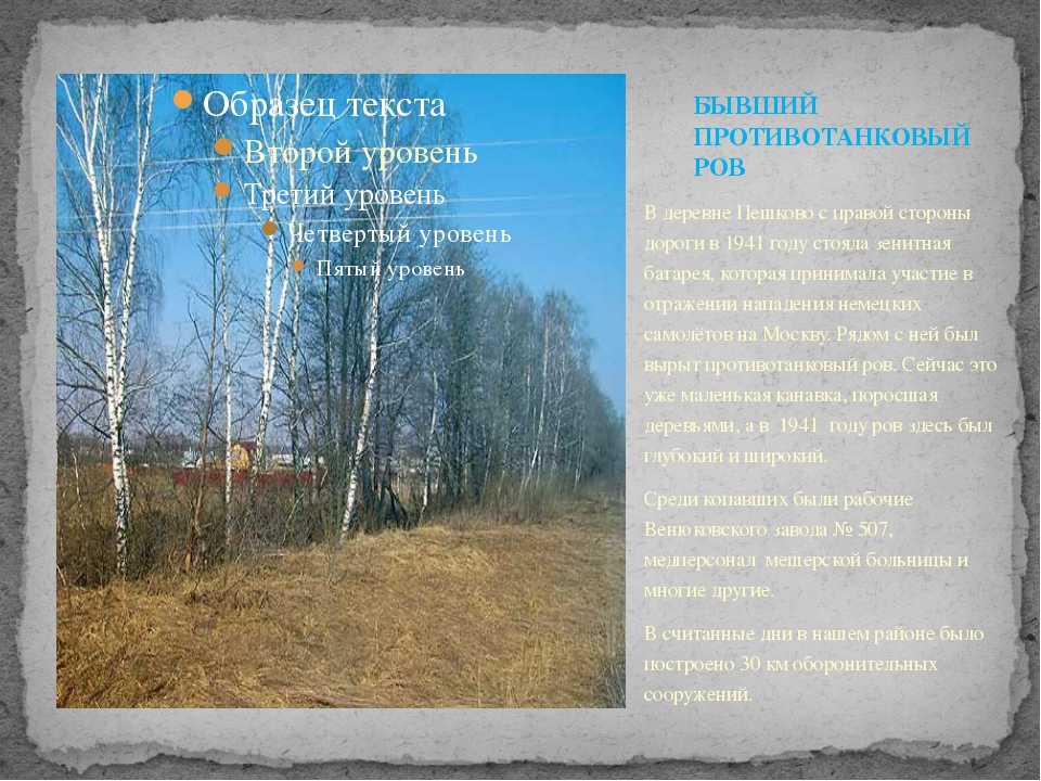 В деревне Пешково с правой стороны дороги в 1941 году стояла зенитная батарея...