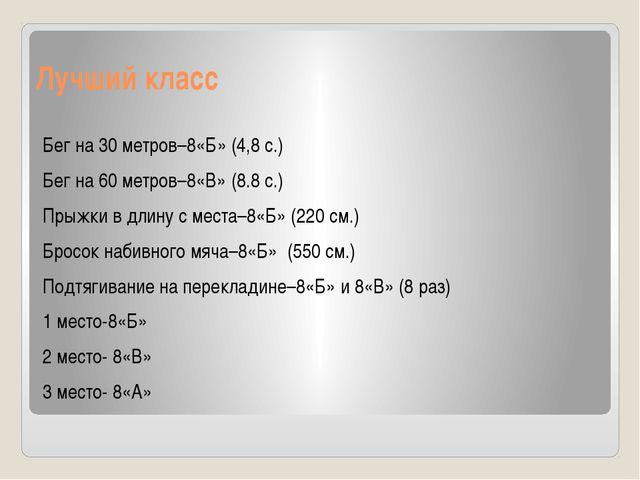 Лучший класс Бег на 30 метров–8«Б» (4,8 с.) Бег на 60 метров–8«В» (8.8 с.) Пр...