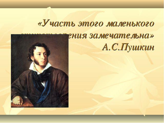 «Участь этого маленького стихотворения замечательна» А.С.Пушкин