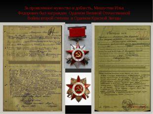 За проявленное мужество и доблесть, Мишустин Илья Федорович был награжден Орд