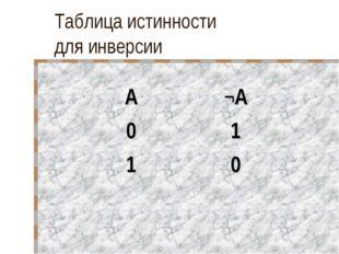 Таблица истинности для инверсии А¬А 01 10