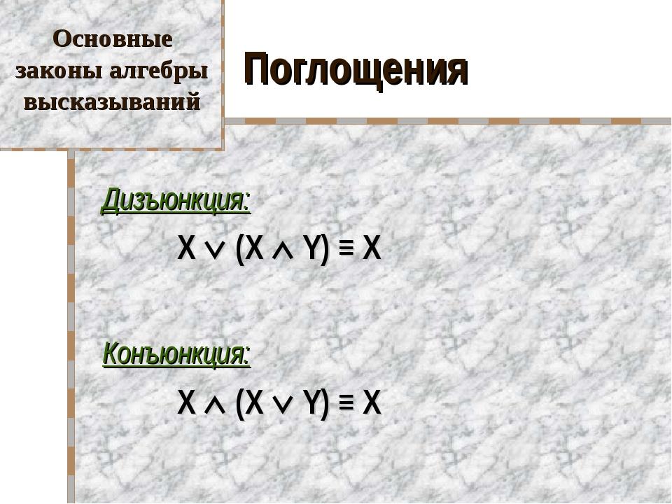 Поглощения Дизъюнкция:  X  (X  Y) ≡ X Конъюнкция:  X  (X  Y) ≡ X Осно...