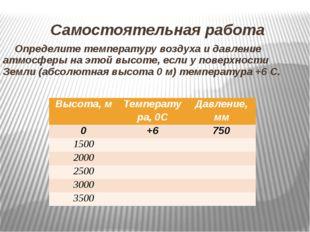 Самостоятельная работа Определите температуру воздуха и давление атмосферы на