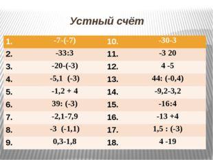 Устный счёт 1. -7-(-7) 10. -30-3 2. -33:3 11. -3 20 3. -20-(-3) 12. 4 -5 4. -