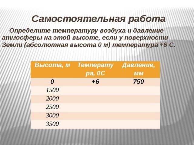 Самостоятельная работа Определите температуру воздуха и давление атмосферы на...