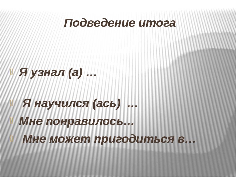 Подведение итога Я узнал (а) … Я научился (ась) … Мне понравилось… Мне может...