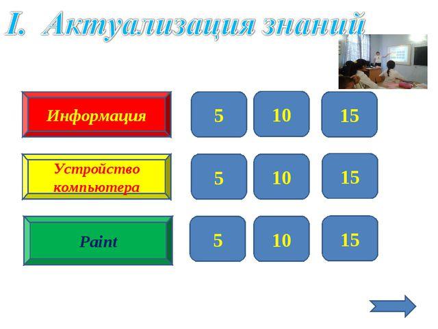 Информация Устройство компьютера Paint 5 10 15 5 10 15 5 10 15