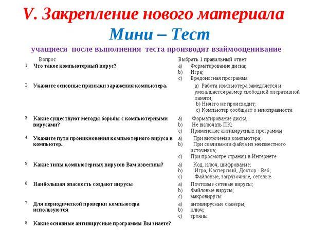 V. Закрепление нового материала Мини – Тест учащиеся после выполнения теста п...