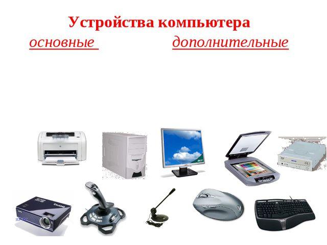 Устройства компьютера основные  дополнительные