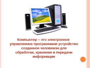 Компьютер – это электронное управляемое программами устройство созданное чело