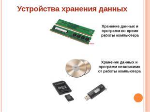 Устройства хранения данных Внутренняя память – энергозависимая Внешняя память