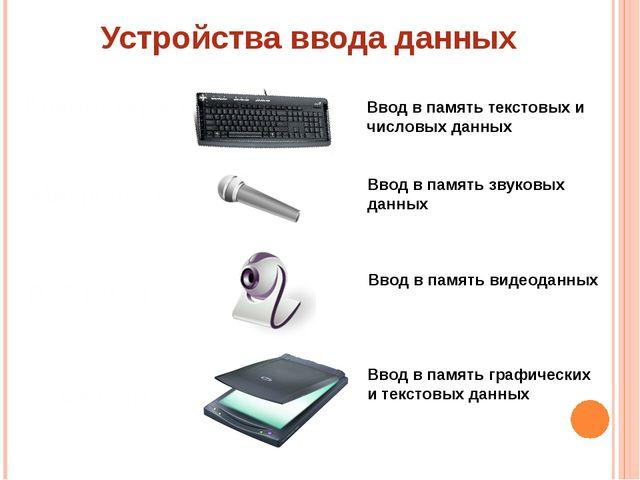 Устройства ввода данных Клавиатура Ввод в память текстовых и числовых данных...