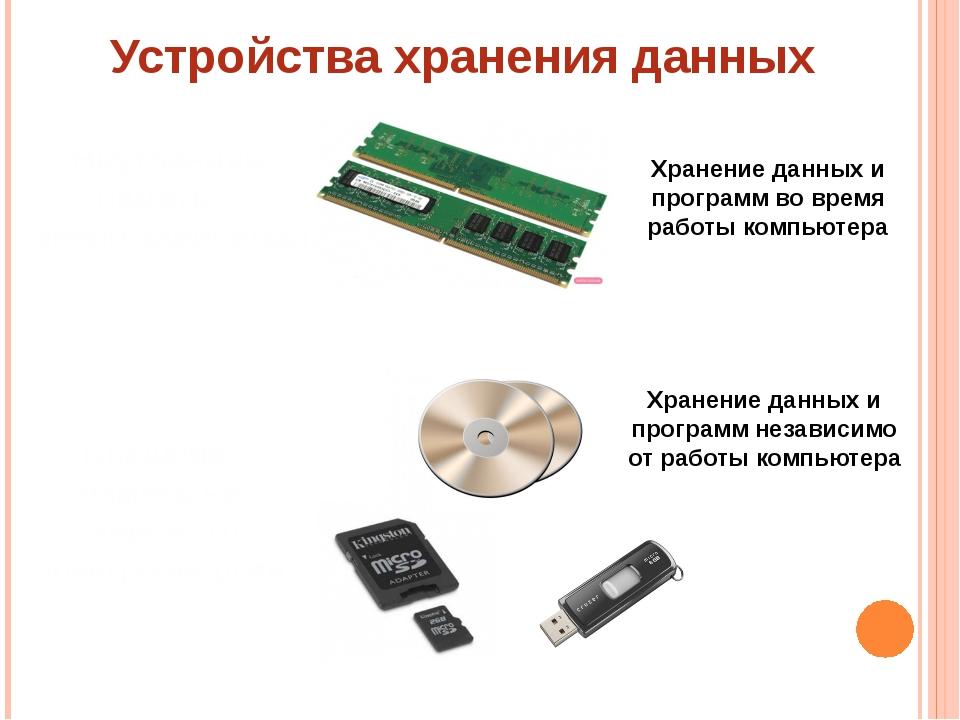 Устройства хранения данных Внутренняя память – энергозависимая Внешняя память...