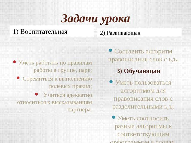 Задачи урока 1) Воспитательная 2) Развивающая Уметь работать по правилам рабо...
