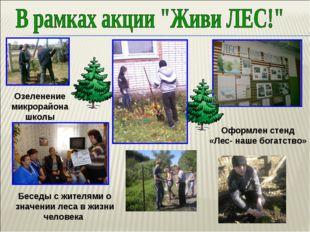 Беседы с жителями о значении леса в жизни человека Оформлен стенд «Лес- наше