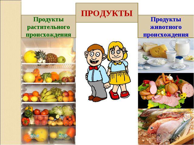 ПРОДУКТЫ Продукты растительного происхождения Продукты животного происхождения