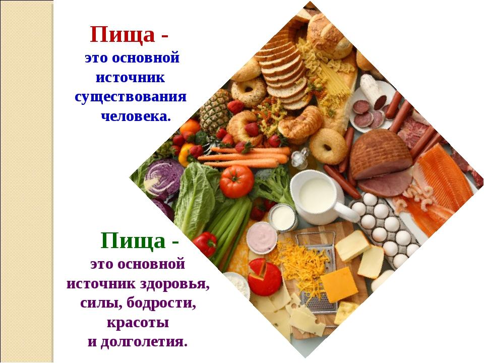 Пища - это основной источник существования человека. Пища - это основной исто...