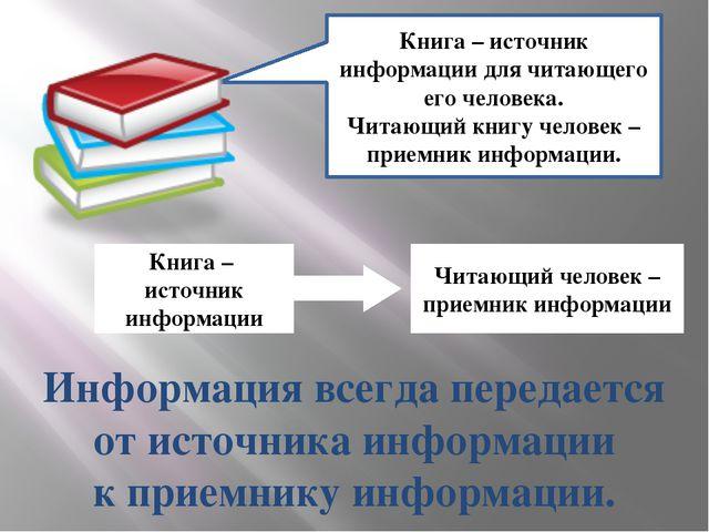 Книга – источник информации для читающего его человека. Читающий книгу челове...