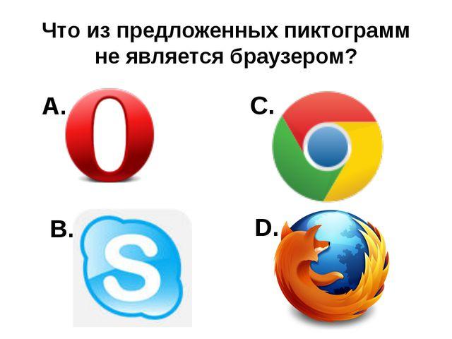 Что из предложенных пиктограмм не является браузером? A. B. C. D.
