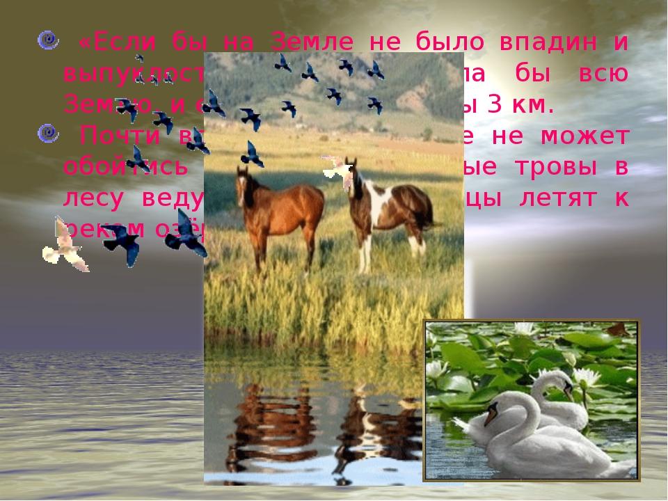 «Если бы на Земле не было впадин и выпуклостей, вода покрыла бы всю Землю, и...