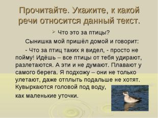 Прочитайте. Укажите, к какой речи относится данный текст. Что это за птицы?