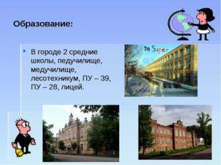 Образование: В городе 2 средние школы, педучилище, медучилище, лесотехникум,