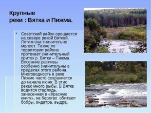 Крупные реки : Вятка и Пижма. Советский район орошается на севере рекой Вятко