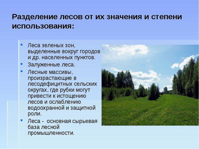 Разделение лесов от их значения и степени использования: Леса зеленых зон, вы...