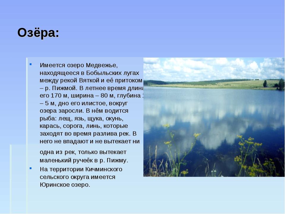 Озёра: Имеется озеро Медвежье, находящееся в Бобыльских лугах между рекой Вят...
