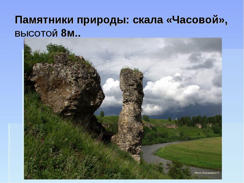 Памятники природы: скала «Часовой», ВЫСОТОЙ 8м..