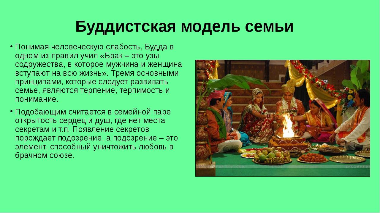 Буддистская модель семьи Понимая человеческую слабость, Будда в одном из прав...