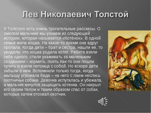У Толстого есть очень трогательные рассказы. О смелом мальчике мы узнаем из с...