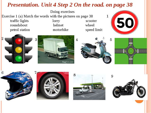 Presentation. Unit 4 Step 2 On the road. on page 38 Doing exercises Exercise...