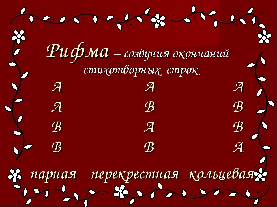 Рифма – созвучия окончаний стихотворных строк А А А А В В В А В В В А парная...