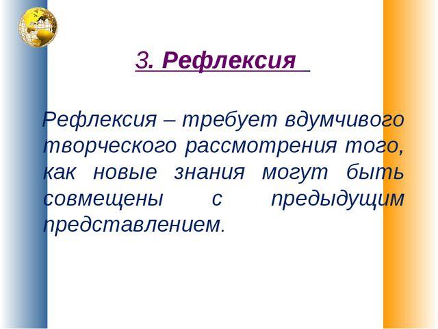 3. Рефлексия Рефлексия – требует вдумчивого творческого рассмотрения того, ка...