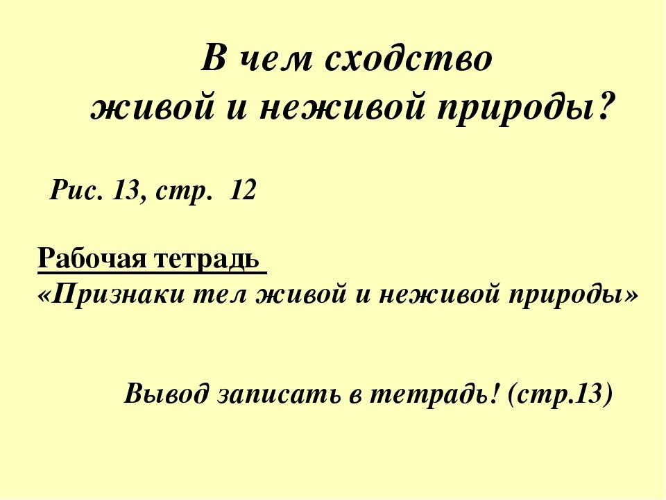 В чем сходство живой и неживой природы? Рис. 13, стр. 12 Рабочая тетрадь «При...