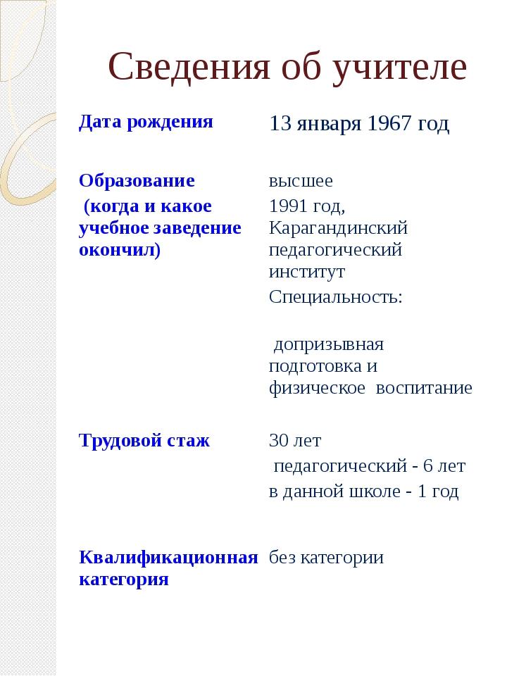 Сведения об учителе Дата рождения 13 января 1967 год Образование (когда и как...