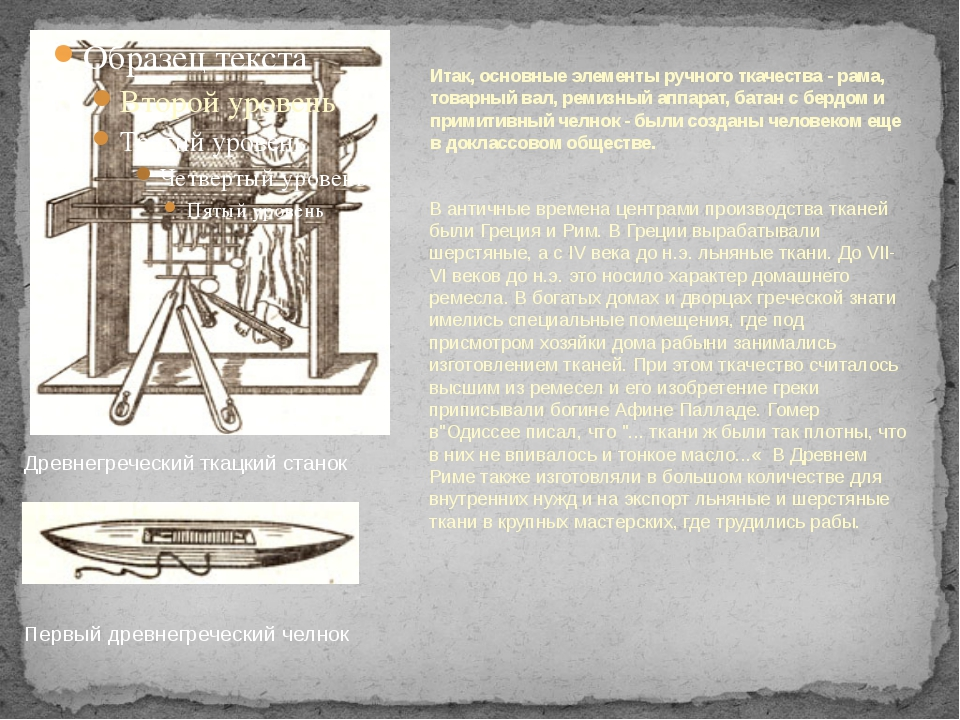 В античные времена центрами производства тканей были Греция и Рим. В Греции в...