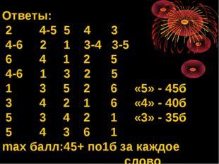 Ответы: 2 4-5 5 4 3 4-6 2 1 3-4 3-5 6 4 1 2 5 4-6 1 3 2 5 1 3 5 2 6 «5» - 45б