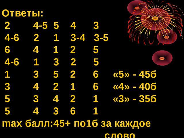 Ответы: 2 4-5 5 4 3 4-6 2 1 3-4 3-5 6 4 1 2 5 4-6 1 3 2 5 1 3 5 2 6 «5» - 45б...