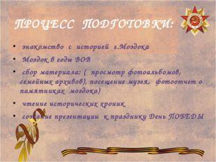 ПРОЦЕСС ПОДГОТОВКИ: знакомство с историей г.Моздока Моздок в годы ВОВ сбор ма