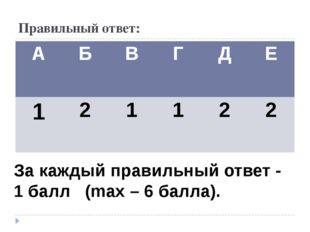 Правильный ответ: За каждый правильный ответ - 1 балл (mах – 6 балла). А Б В
