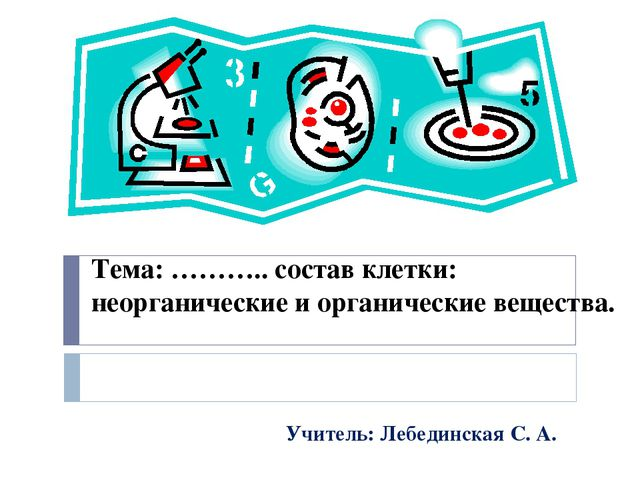 Тема: ……….. состав клетки: неорганические и органические вещества.  Учитель:...