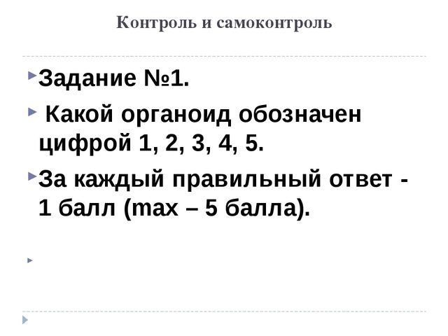 Контроль и самоконтроль Задание №1. Какой органоид обозначен цифрой 1, 2, 3,...