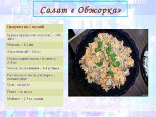 Салат « Обжорка» Продукты(на 6 порций) Курица (грудка или окорочок) – 300-40