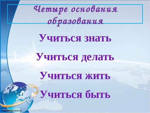 Четыре основания образования Учиться знать Учиться делать Учиться жить Учитьс...