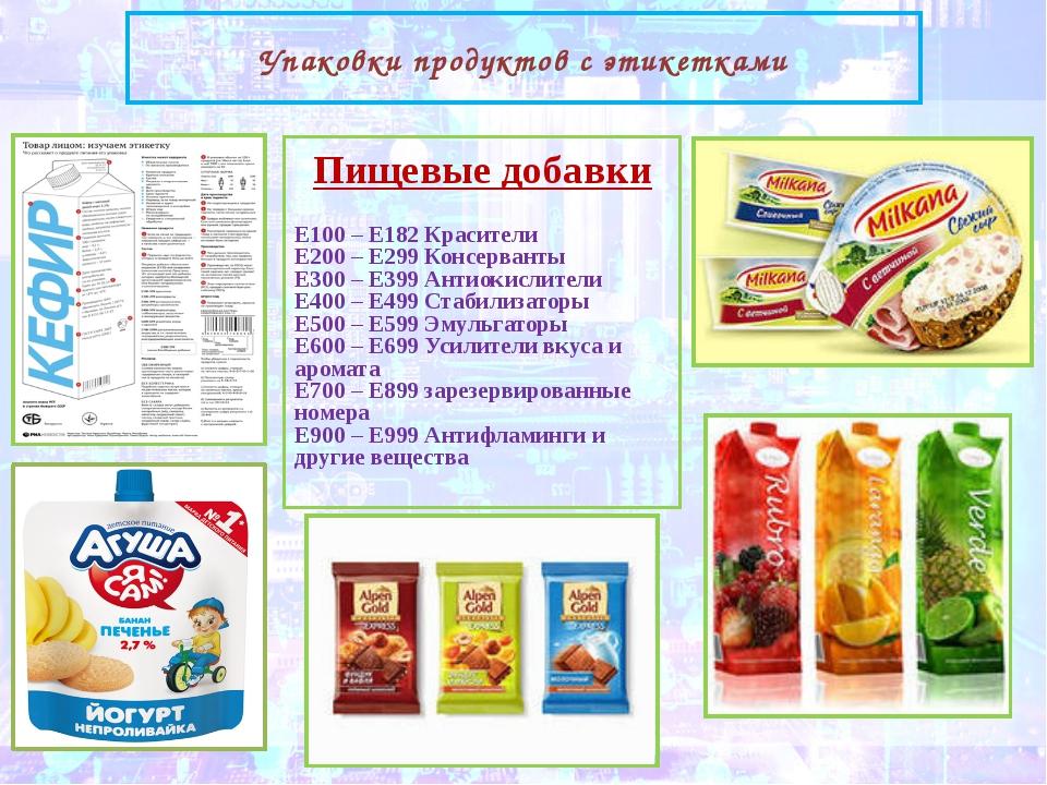 Упаковки продуктов с этикетками Пищевые добавки Е100 – Е182 Красители Е200 –...