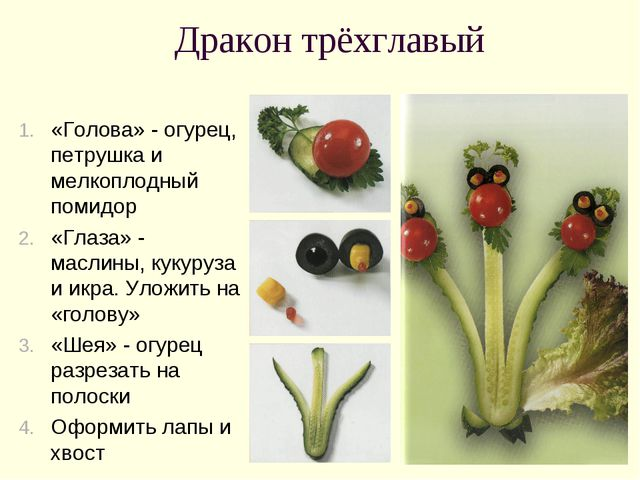 Дракон трёхглавый «Голова» - огурец, петрушка и мелкоплодный помидор «Глаза»...