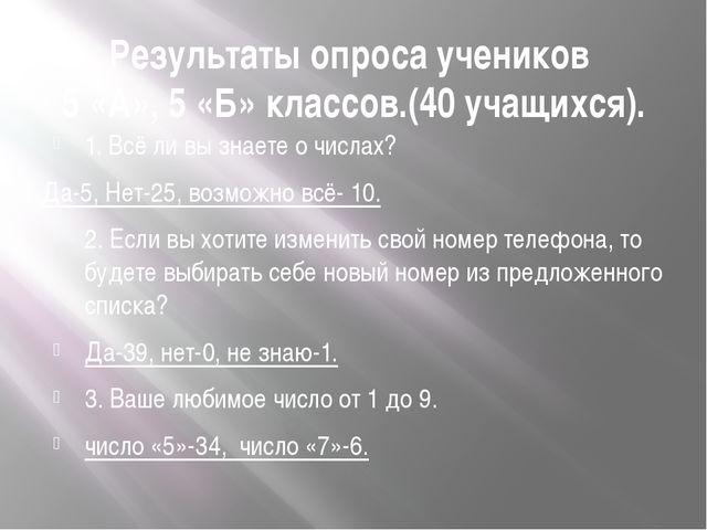 Результаты опроса учеников 5 «А», 5 «Б» классов.(40 учащихся). 1. Всё ли вы з...